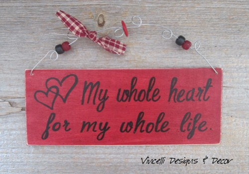 Handpainted Wood Plaque - Whole Heart Red