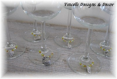 Wine Charms - Set of 6 - Wine Theme