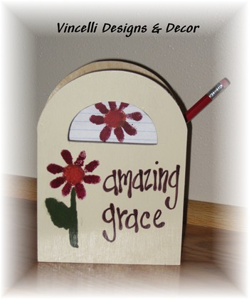 Wooden Gift Bag - Amazing Grace-wooden gift bag, wood, handpainted,