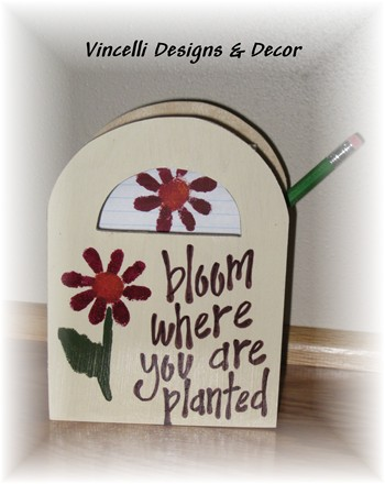 Wooden Gift Bag - Bloom Where You Are Planted-wooden gift bag, wood, handpainted,