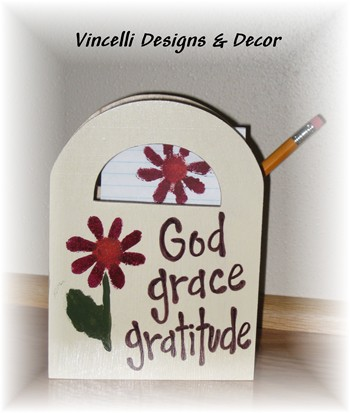 Wooden Gift Bag - God, grace, gratitude-wooden gift bag, wood, handpainted,